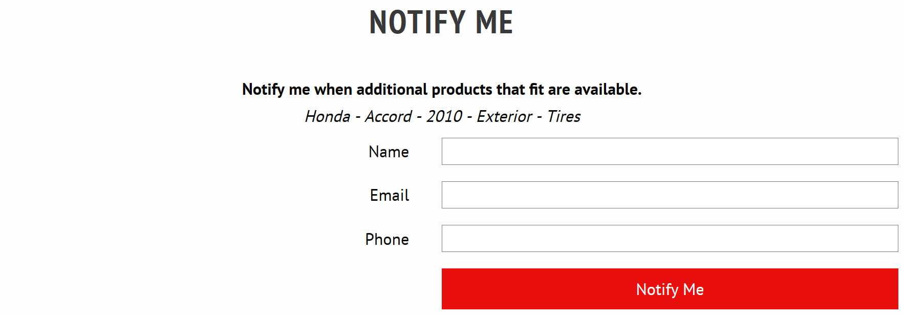 Fitment Capture Marketing Form