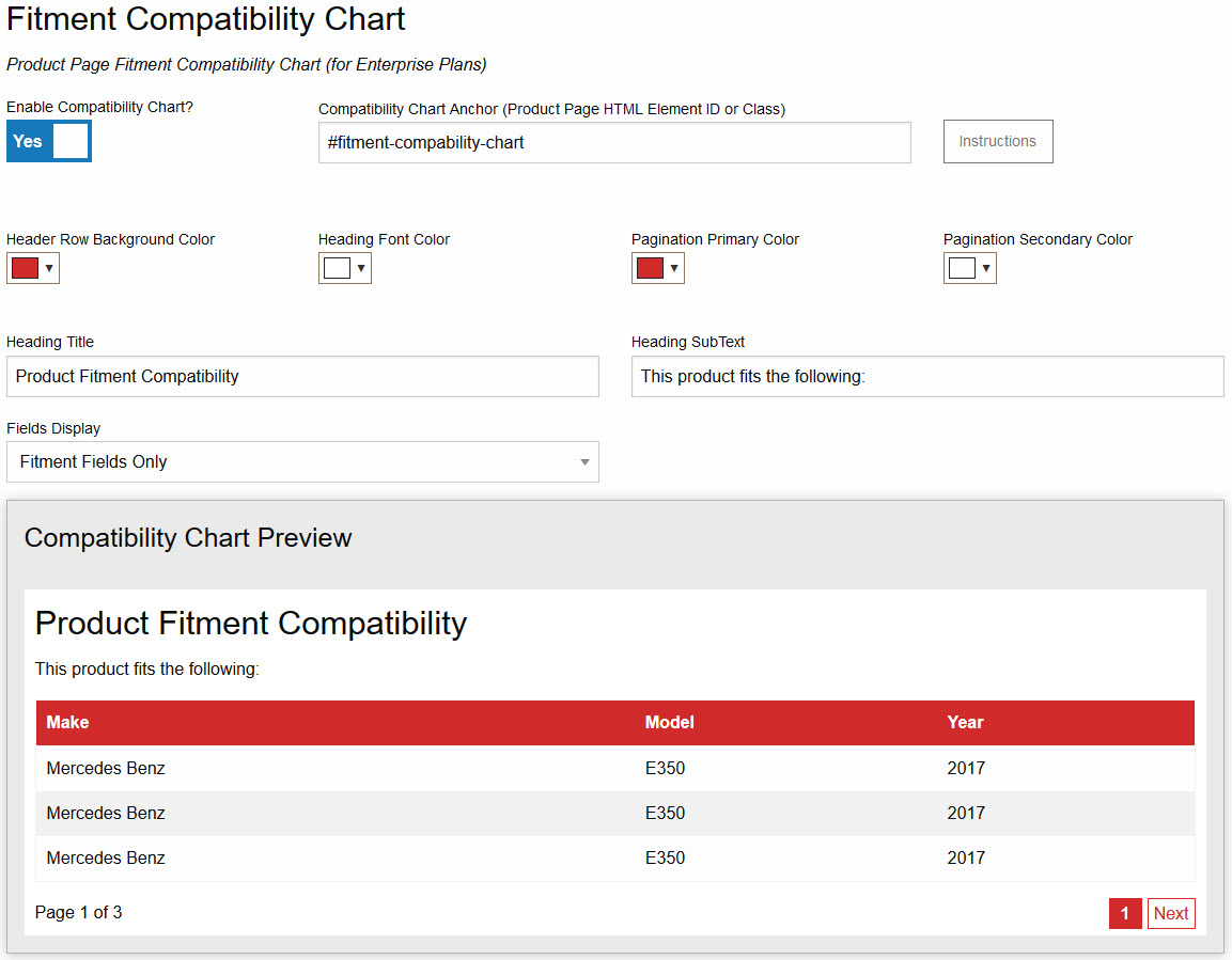 Fitment Compatibility Chart Design Tool